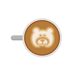 Top view of hot coffee with bear latte art cup of vector