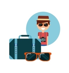 Tourist person with camera photographic vector