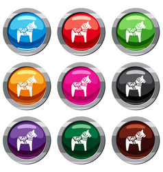 toy horse set 9 collection vector image