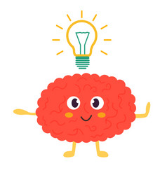 Train your brain poster with funny cartoon brain vector