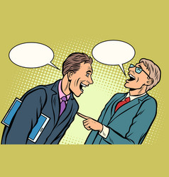 two businessmen meeting laughing vector image