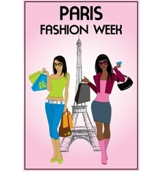 Two shopping girls in paris vector