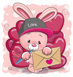 Valentine card with cute cartoon rabbit vector