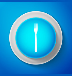 white fork icon isolated on blue background vector image