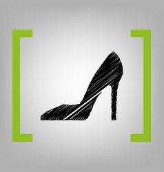 Woman shoe sign black scribble icon in vector