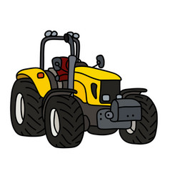 Yellow open tractor vector