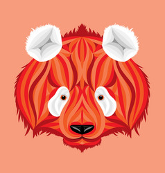 fire panda picture of fire bear with white ears vector image