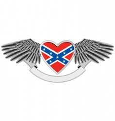 heart with flag of confederacy vector image vector image