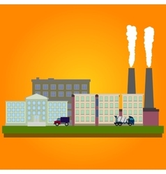 Industrial factory buildings set in flat style vector image