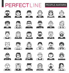 people avatars classic black concept icons vector image