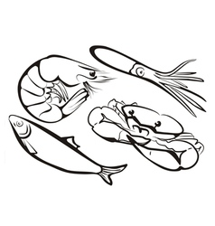 sea food collection in simple black lines vector image vector image