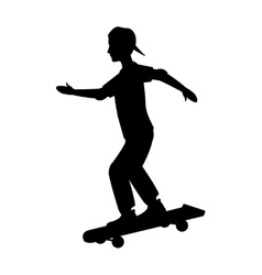 silhouette guy cap young skating vector image vector image