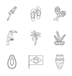 Symbols of brasil icon set outline style vector