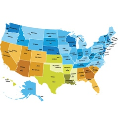 Usa map with names of states vector