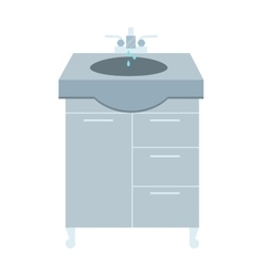 Washbasin and faucet with water drop at home vector image vector image