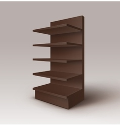 Brown exhibition stand shop rack with shelves vector