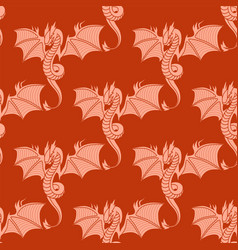 chinese dragon silhouettes tattoo mythology vector image vector image