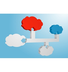 Connected 3d clouds abstract infographic element vector