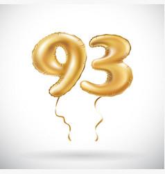 golden number 93 ninety three metallic balloon vector image