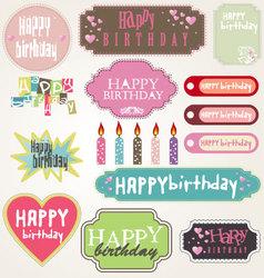happy birthday - labels vector image vector image