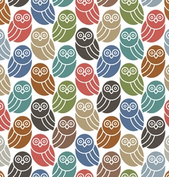 Seamless pattern with cute owls in retro colors vector image vector image