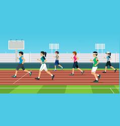 women is runner vector image