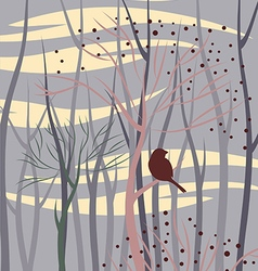 bird in forest vector image vector image