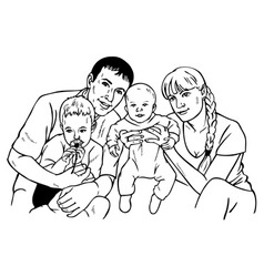happy family drawing vector image vector image