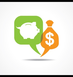 Piggy bank and dollar symbol in message bubble vector image