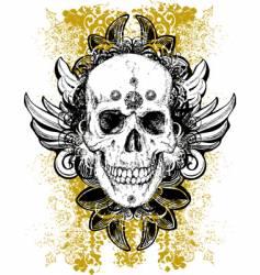 stained skull grunge illustration vector image