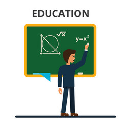 student pupil standing in front of math school vector image