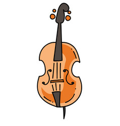 violin cartoon hand drawn image vector image