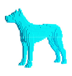 voxel blue dog 3d pixel vector image vector image