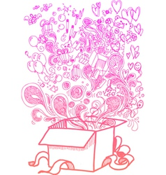 Big present box full of toys sketchy doodle vector image