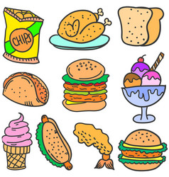 Doodle of food and drink various vector