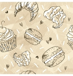 Doodle seamless pattern with sweets vector image