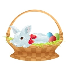 Easter bunny in wicker basket Cute easter bunny vector image vector image