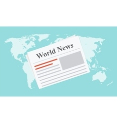 Flat newspaper on the world map vector image
