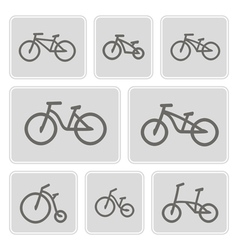 monochrome icons with bicycles vector image vector image