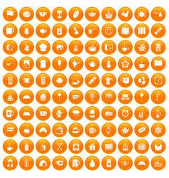 100 tea cup icons set orange vector