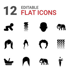 12 portrait icons vector