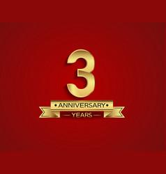 3 years anniversary golden design color vector
