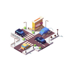 3d isometric landscape with car on street vector image