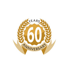 60 years ribbon anniversary vector