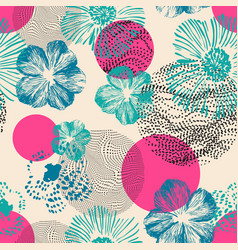 abstract geometric floral seamless pattern hand vector image