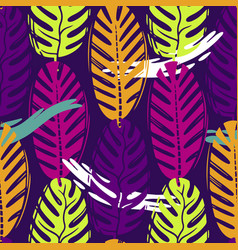 Abstract seamless tropical leaves pattern vector