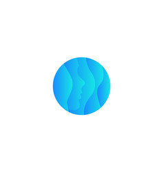 abstract waving round shape blue face with water vector image