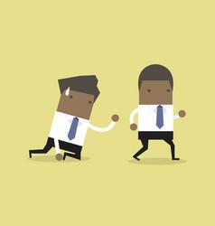 African businessman walks away from coworker vector