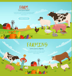 Agribusiness banners with vector