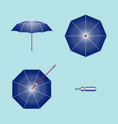 an umbrella open front top bottom and folded vector image